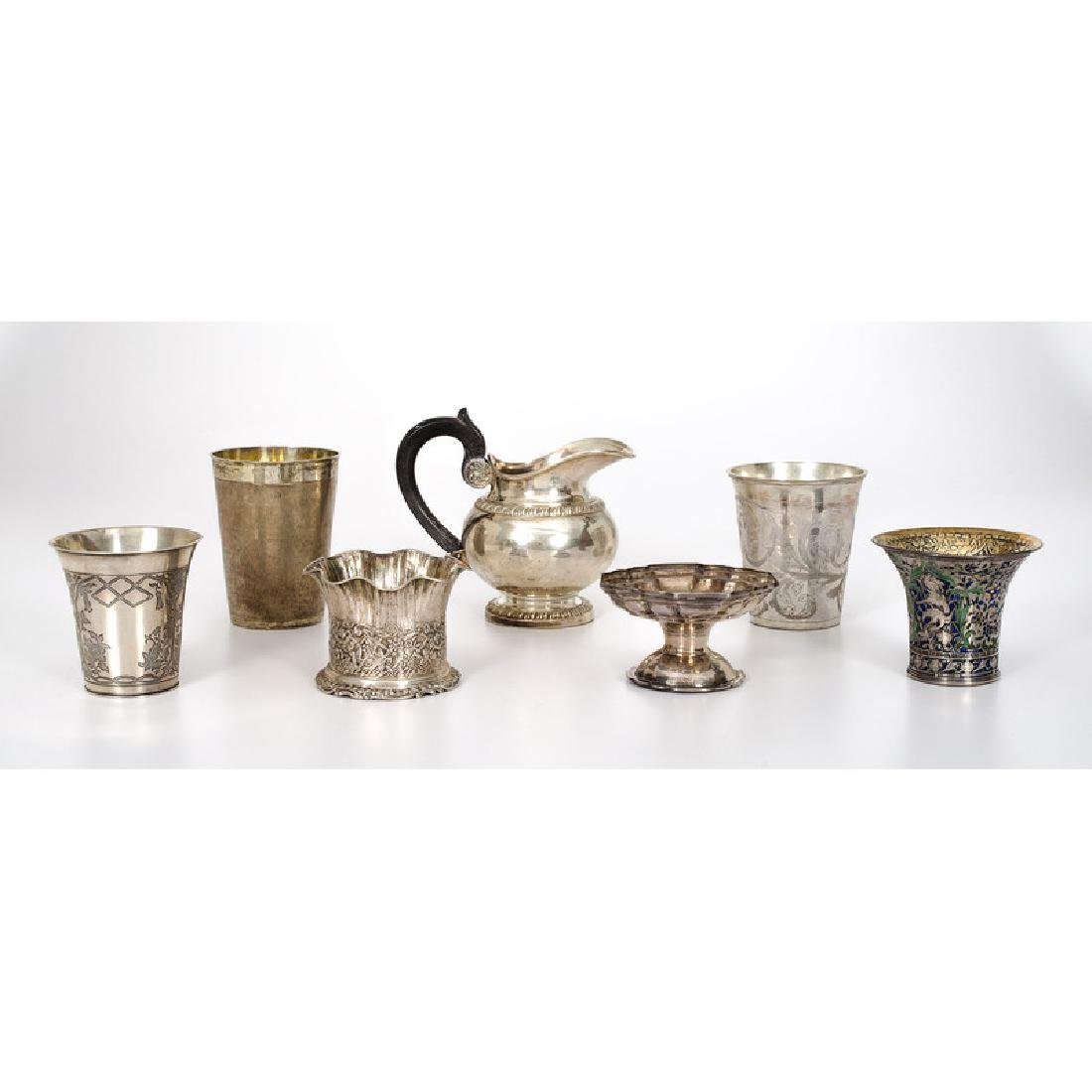 European Silver Beakers, Creamer and Open Salt - 2
