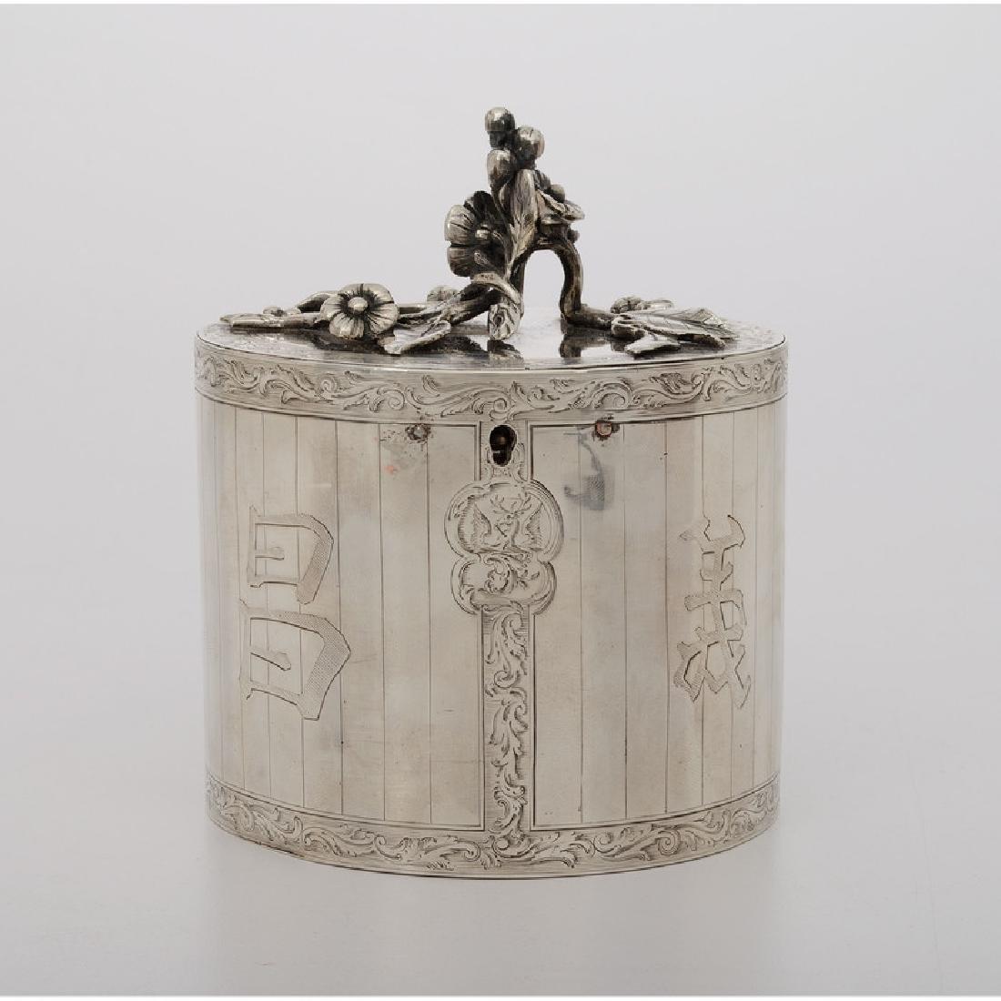 Chinoiserie Silver Tea Caddy, Parker & Wakelin