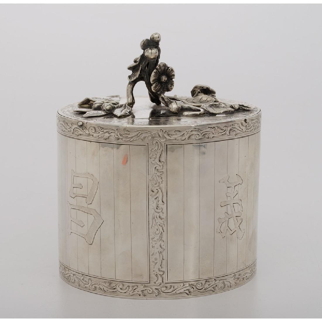 Chinoiserie Silver Tea Caddy, Parker & Wakelin - 2