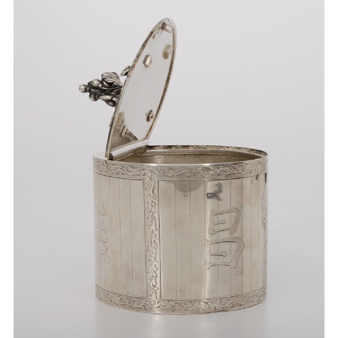 Chinoiserie Silver Tea Caddy, Parker & Wakelin - 3