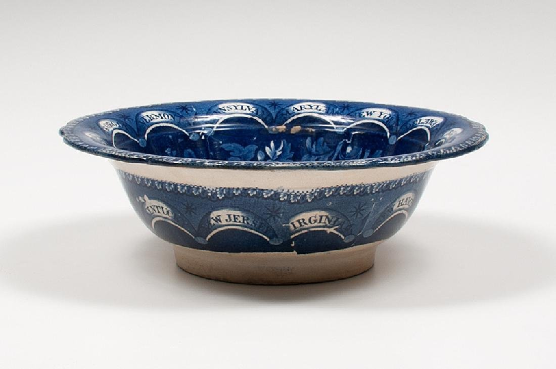 Clews Staffordshire Blue Center Bowl with Thirteen