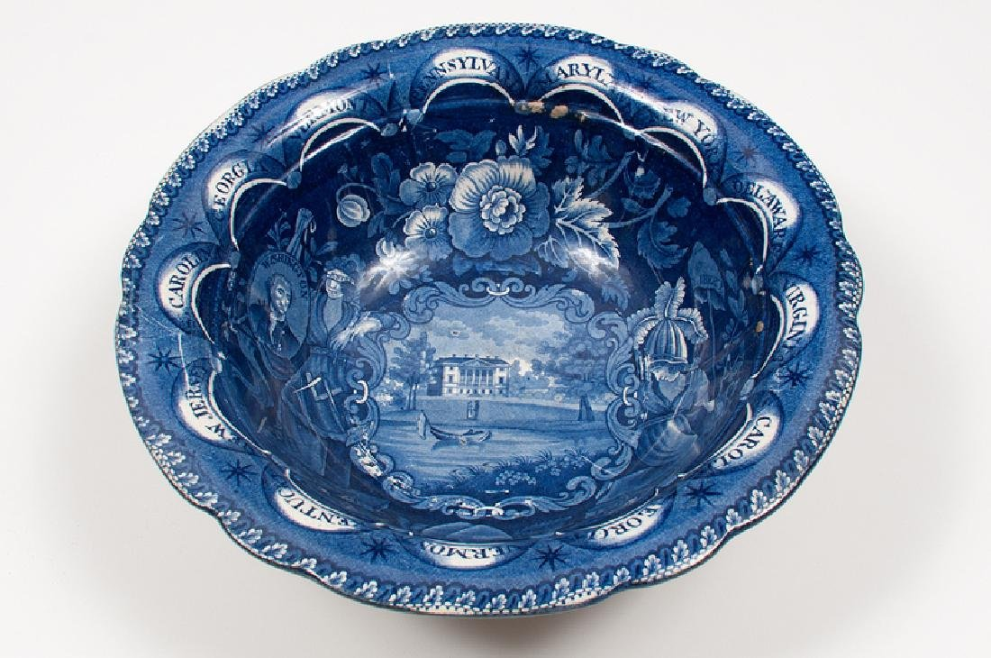 Clews Staffordshire Blue Center Bowl with Thirteen - 2