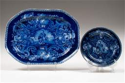 Clews Staffordshire Blue Plate and Platter Peace