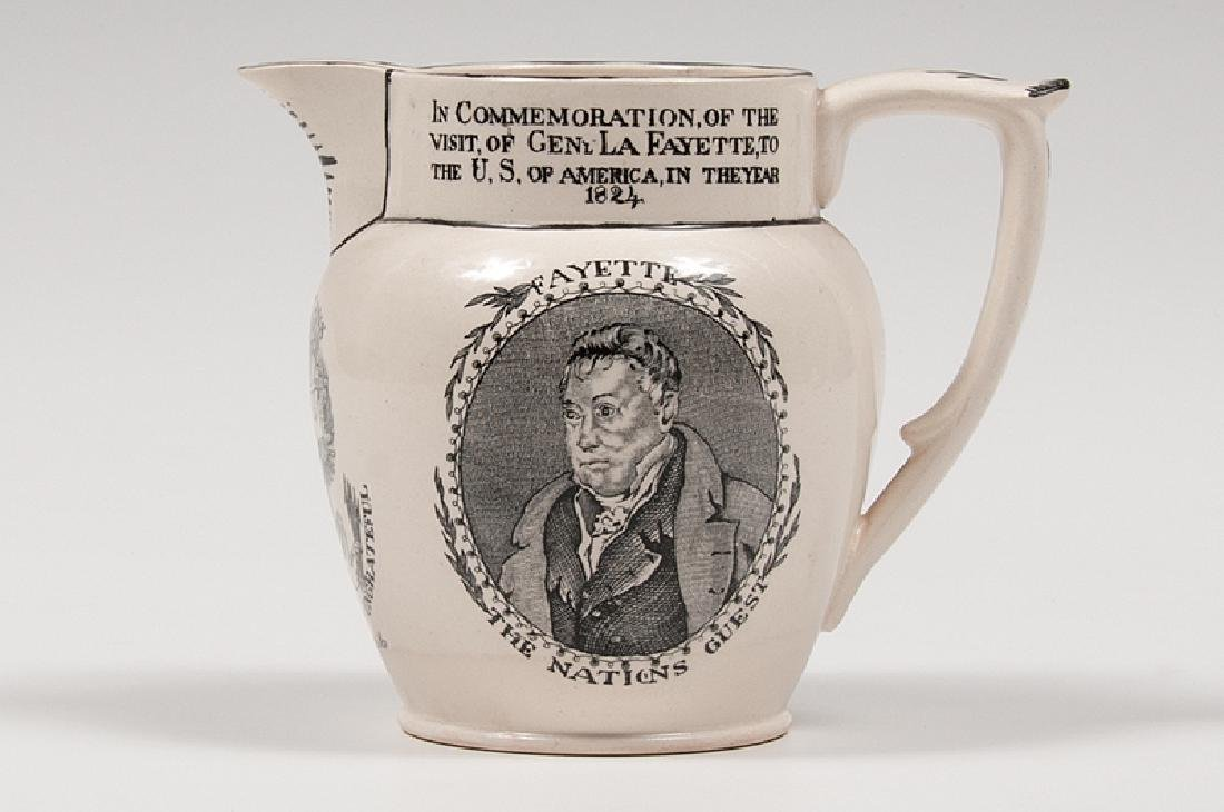 Hall & Son Lafayette Commemorative Creamware Pitcher