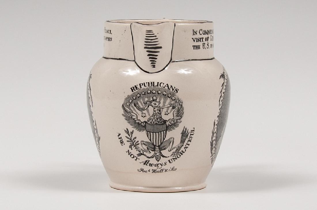 Hall & Son Lafayette Commemorative Creamware Pitcher - 3