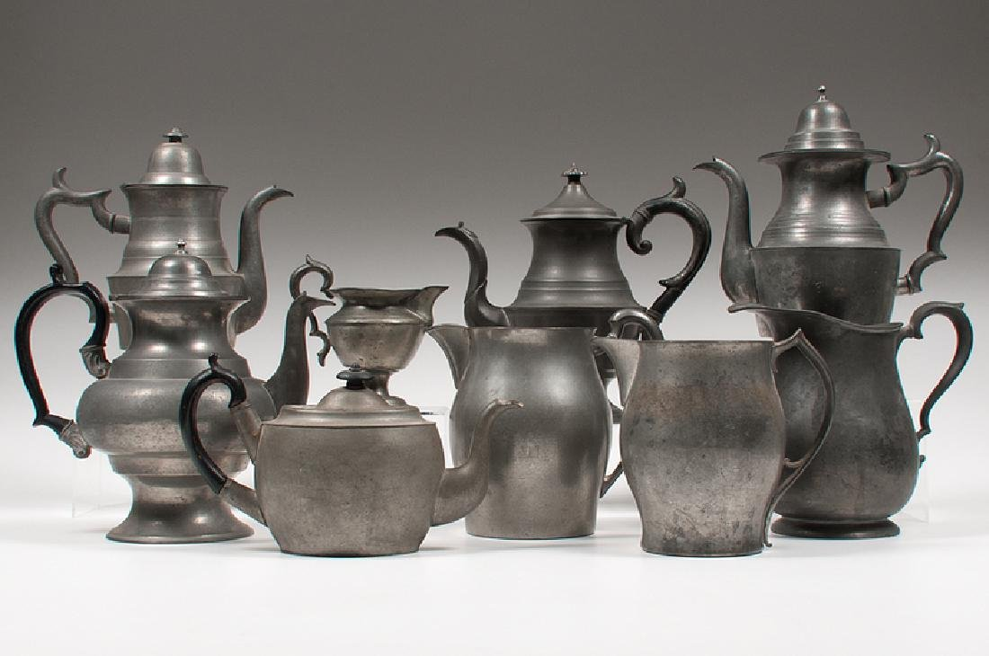 American Pewter Teapots and Pitchers, Plus