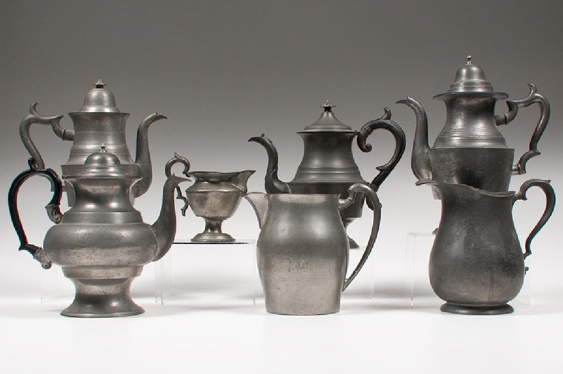 American Pewter Teapots and Pitchers, Plus - 2