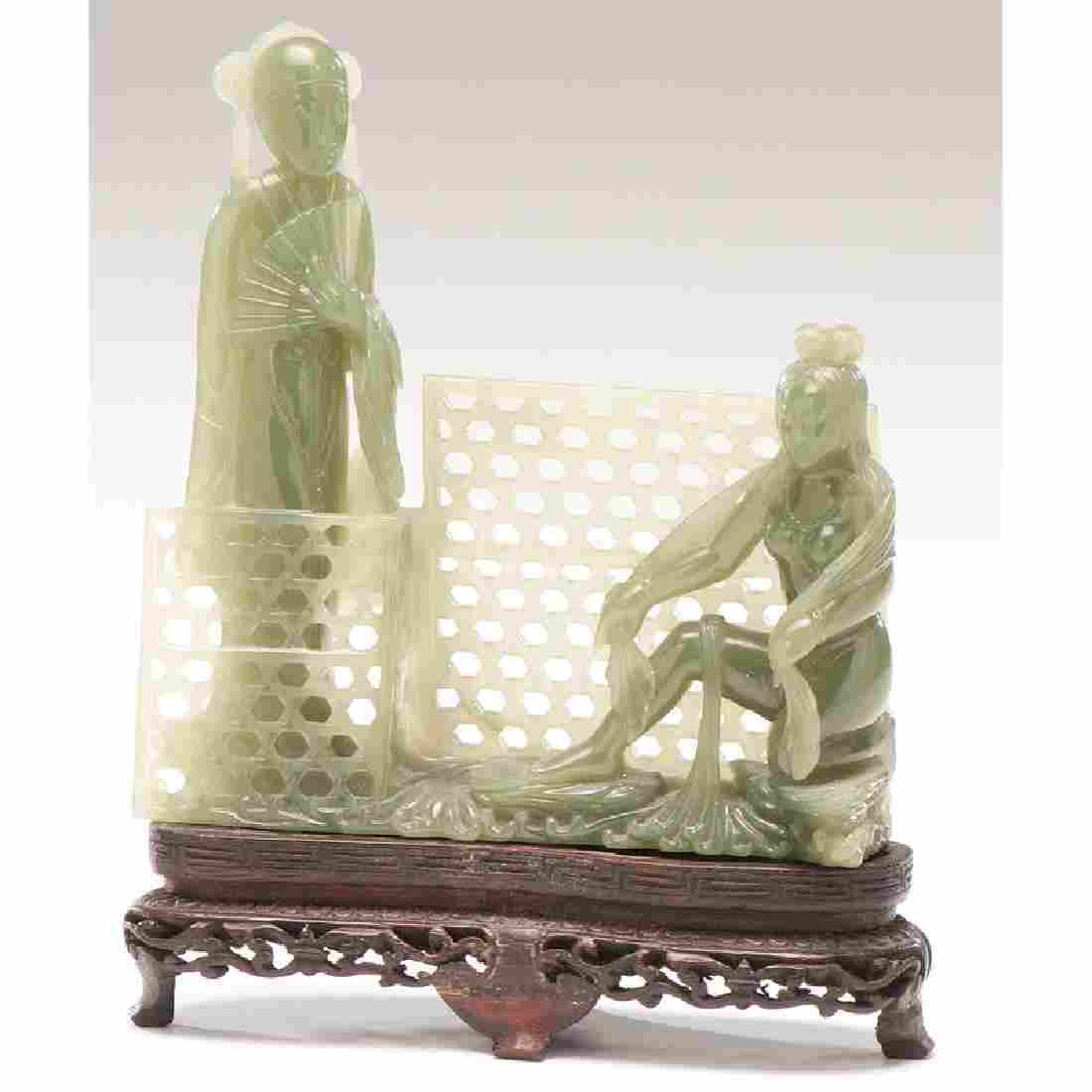 Spinach Green Jade Figural Group