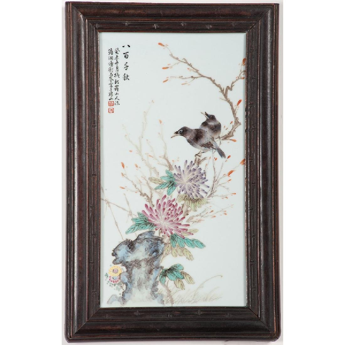Chinese Famille Rose Porcelain Plaque with Birds