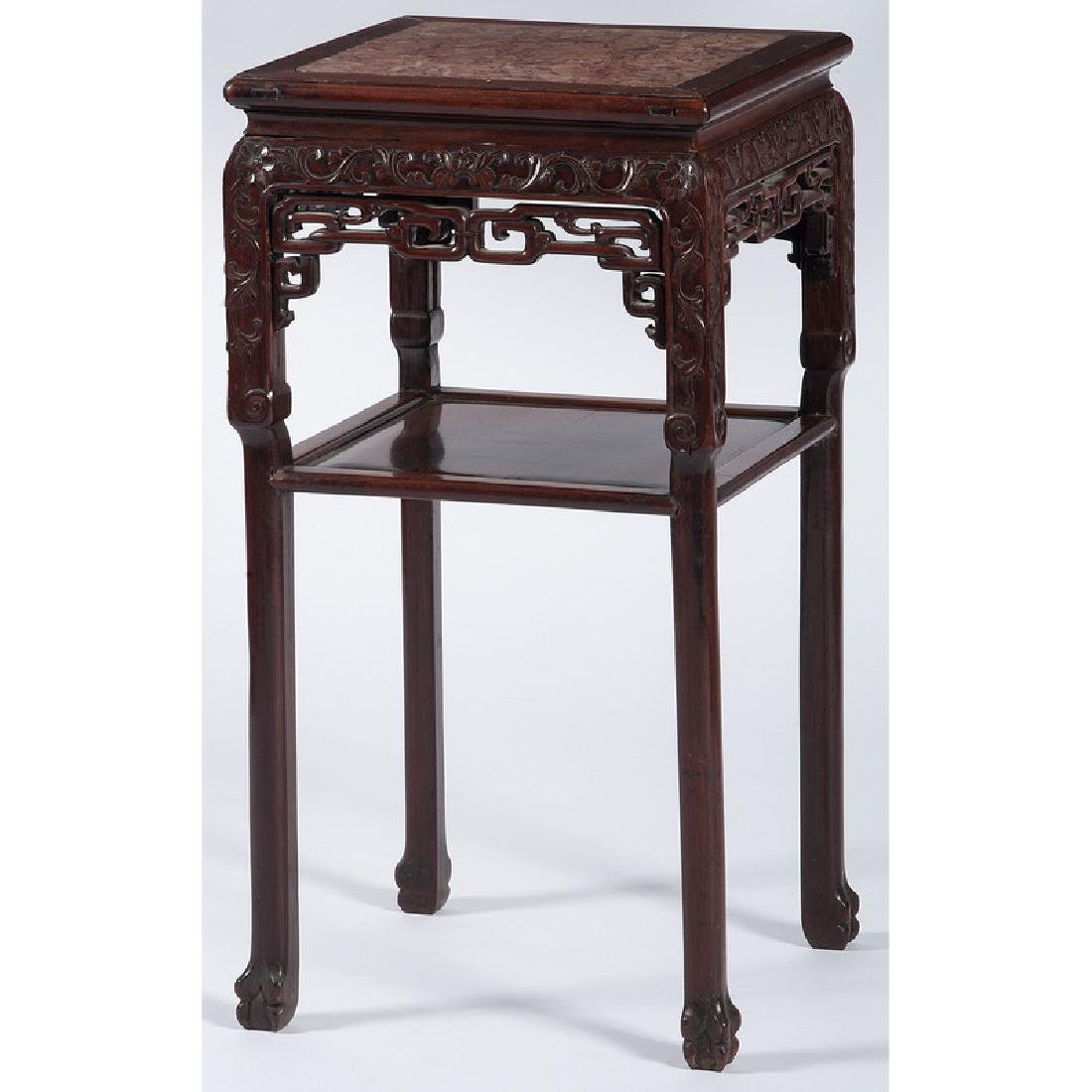 Chinese Carved Hardwood Tea Table with Marble Top
