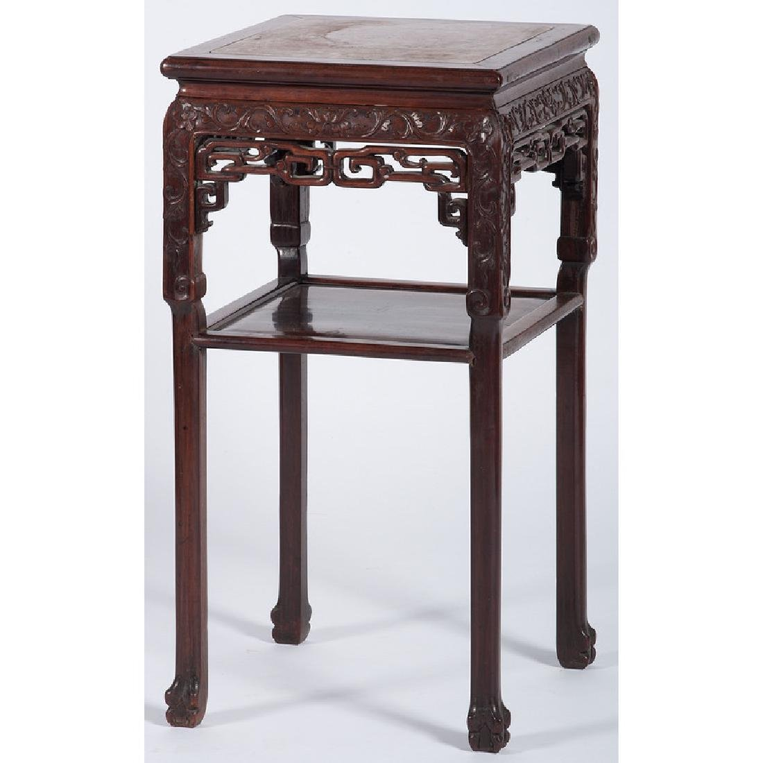 Chinese Carved Hardwood Tea Table with Marble Top - 2