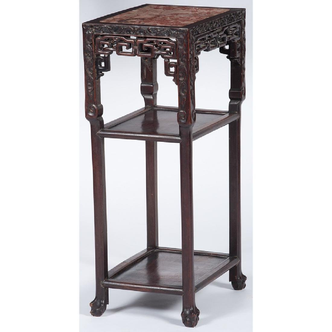 Chinese Carved Tea Table with Marble Top - 2