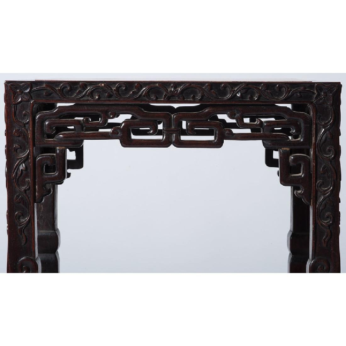 Chinese Carved Tea Table with Marble Top - 4