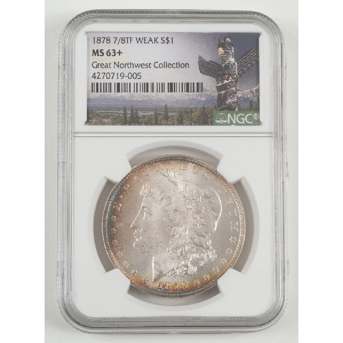 United States Morgan Silver Dollar 1878 7/8TF, NGC MS63