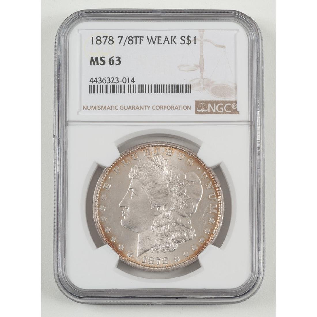 United States Morgan Silver Dollar 1878 7/8TF, NGC MS63