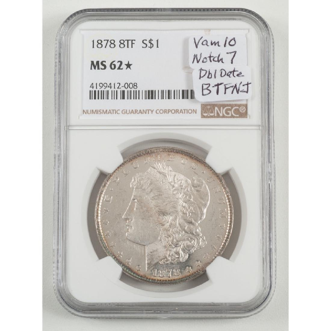 United States Morgan Silver Dollar 1878 8TF, NGC MS62*