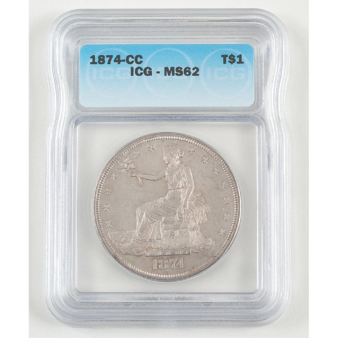 United States Trade Dollar 1874-CC, ICG MS62