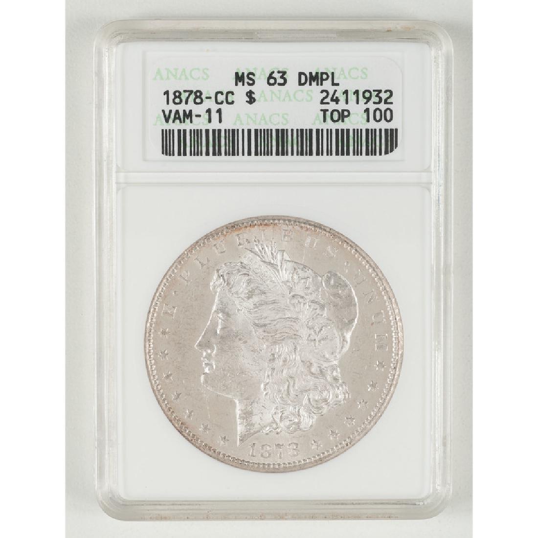 United States Morgan Silver Dollar 1878-CC. ANACS MS63