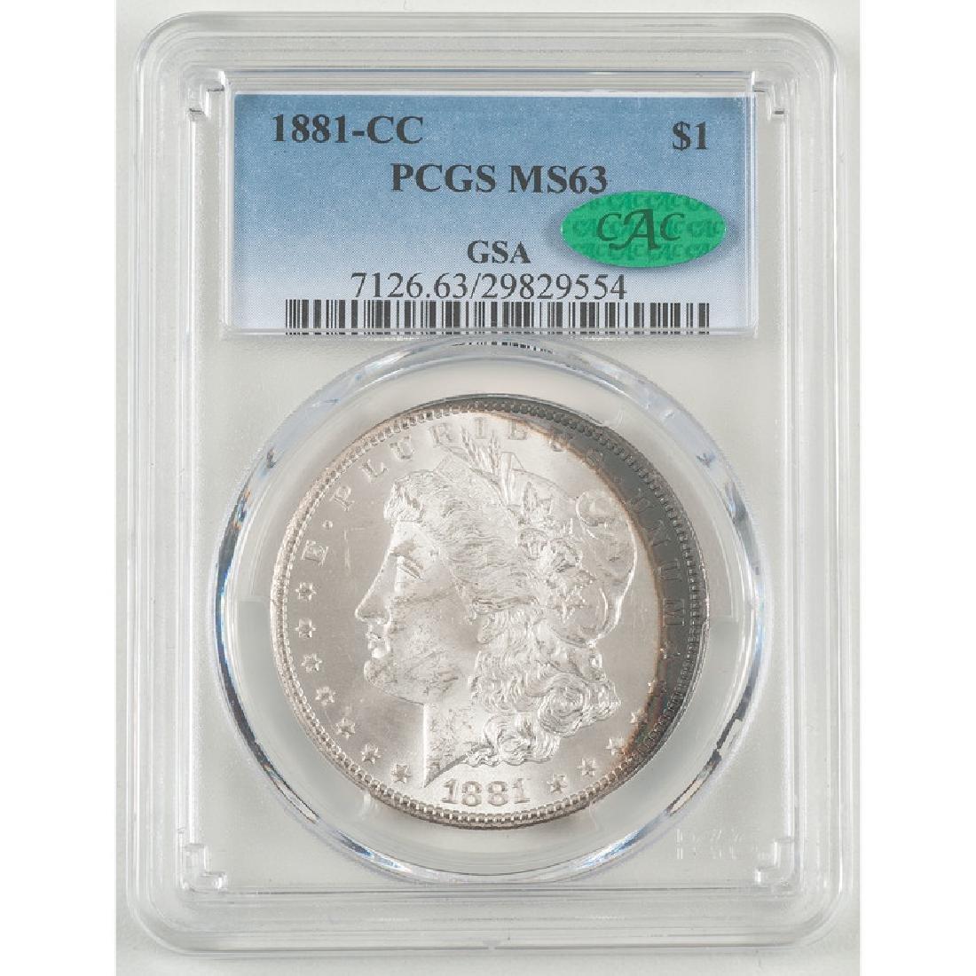 United States Morgan Silver Dollar 1881-CC, GSA, PCGS