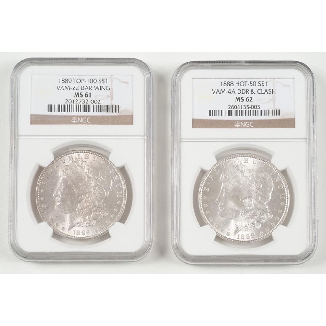 United States Morgan Silver Dollars 1888 NGC MS62, 1889