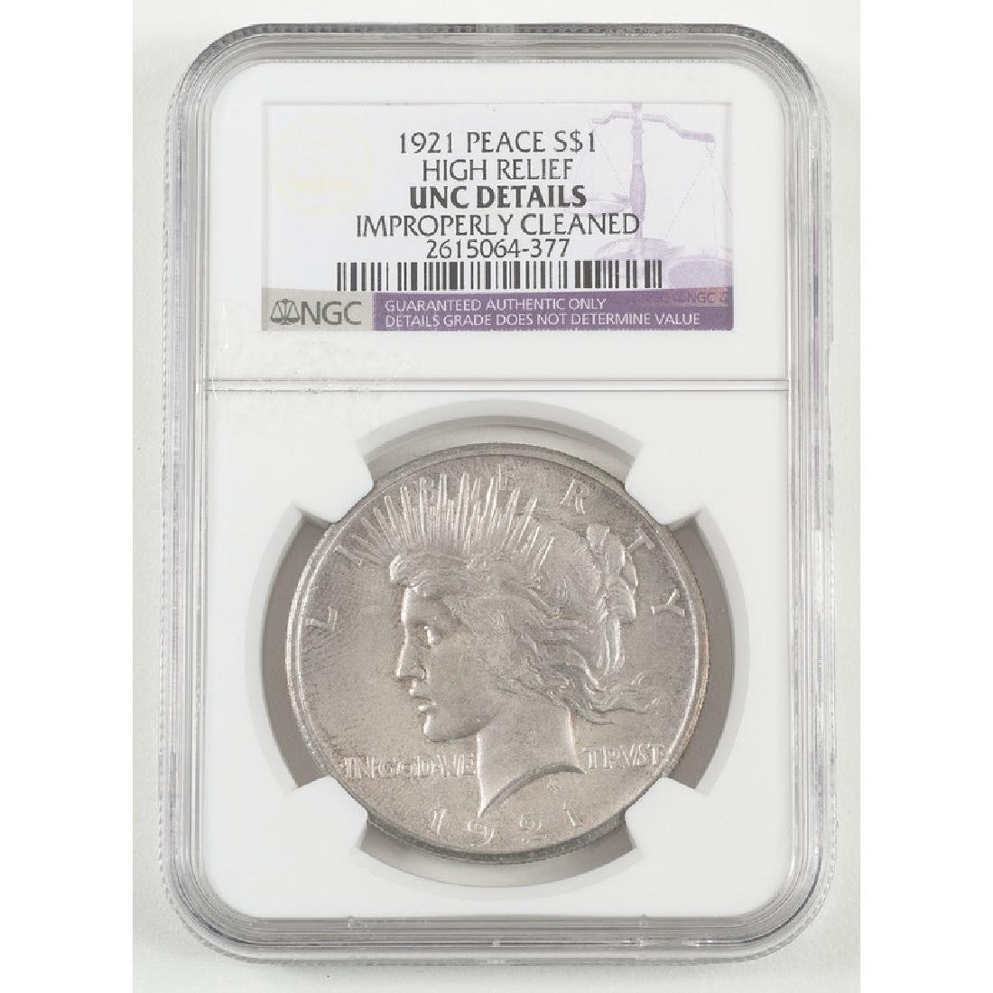 United States Peace Silver Dollar 1921, NGC UNC Details