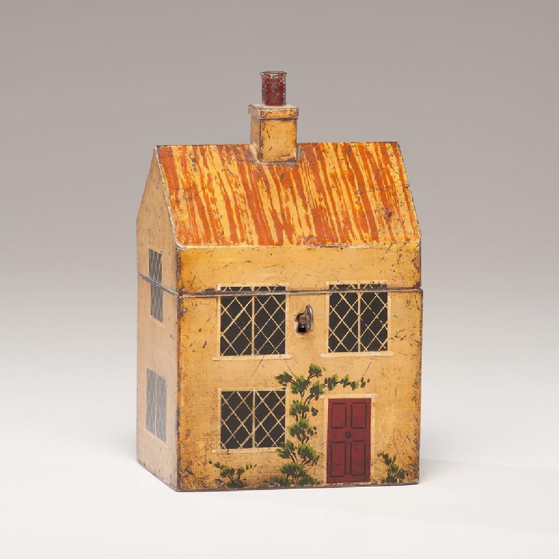 Rare Toleware Cottage Form Tea Caddy
