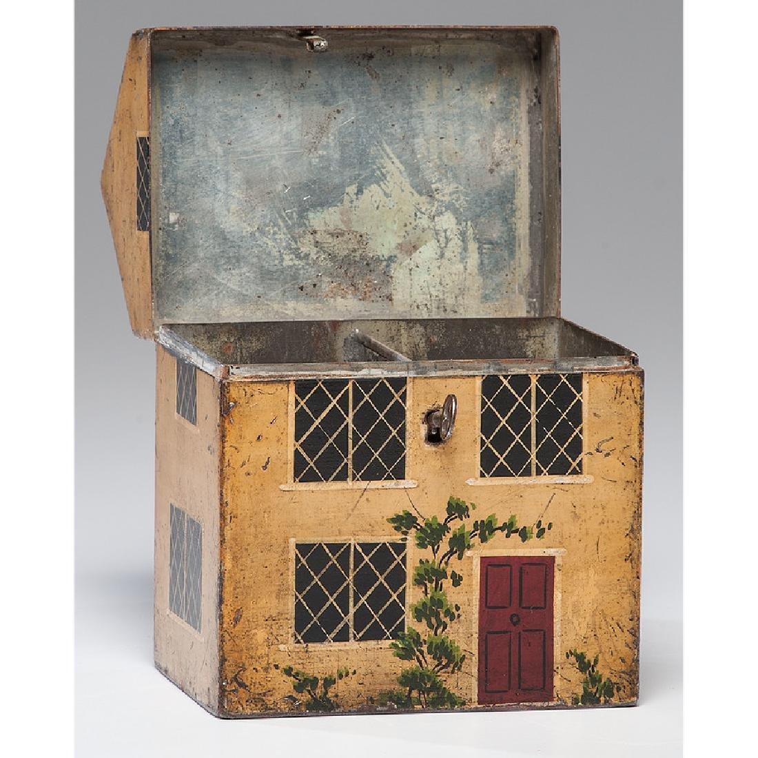 Rare Toleware Cottage Form Tea Caddy - 2