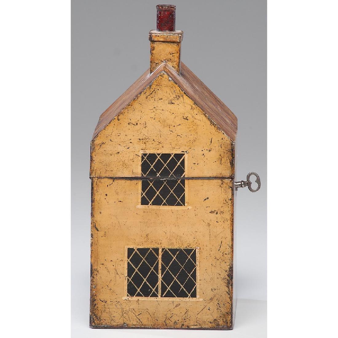 Rare Toleware Cottage Form Tea Caddy - 3