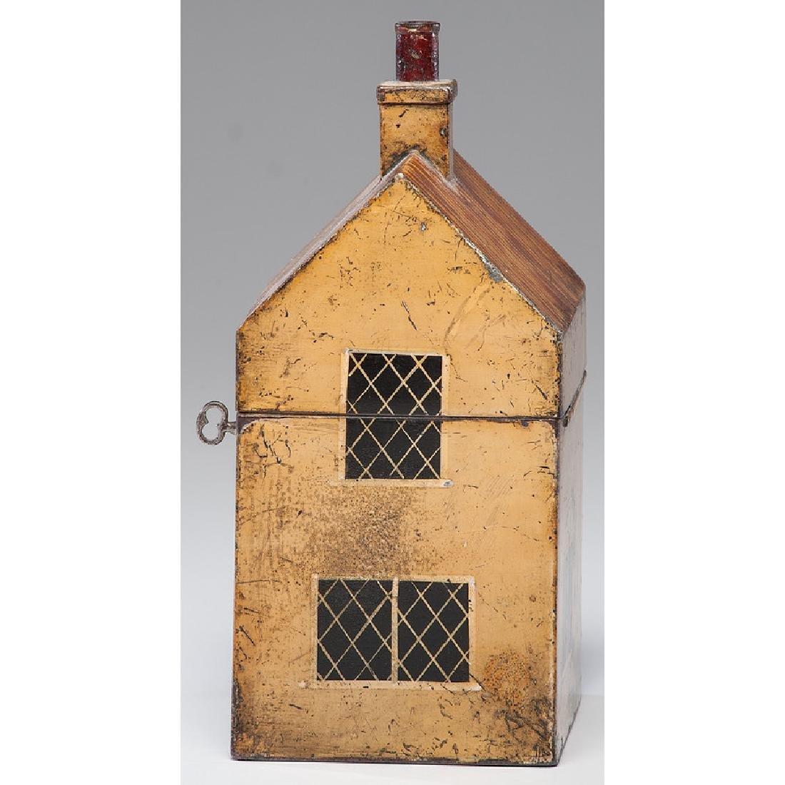 Rare Toleware Cottage Form Tea Caddy - 5