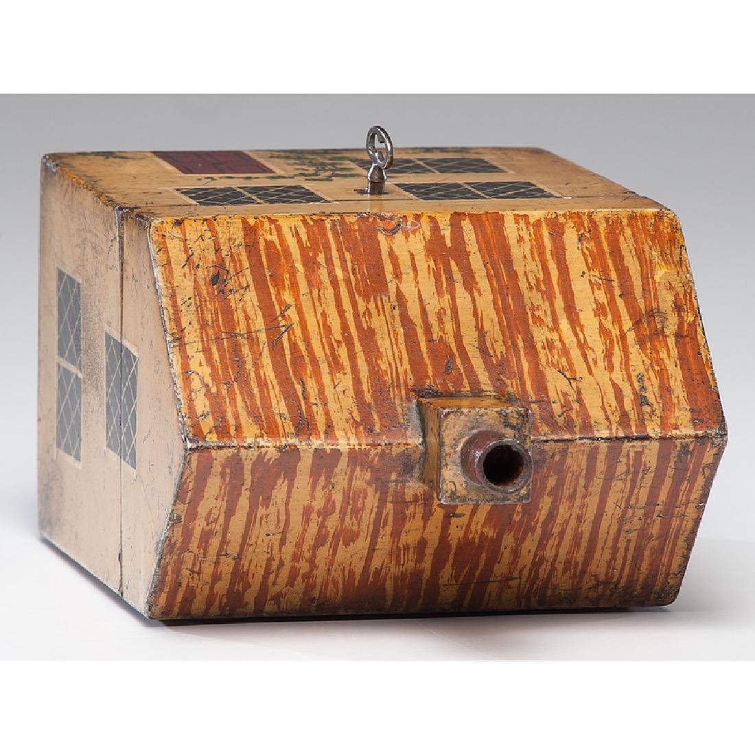 Rare Toleware Cottage Form Tea Caddy - 6