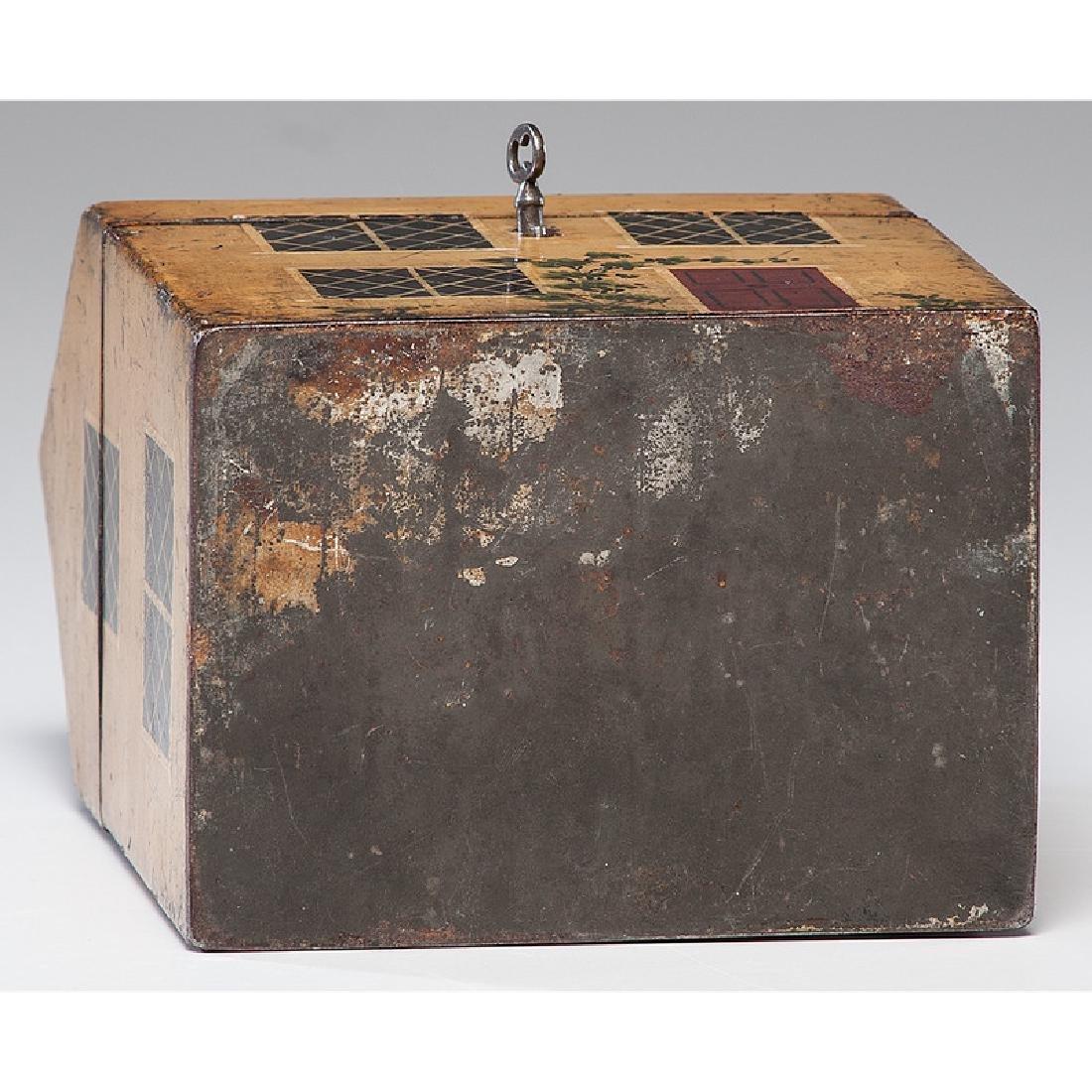 Rare Toleware Cottage Form Tea Caddy - 7