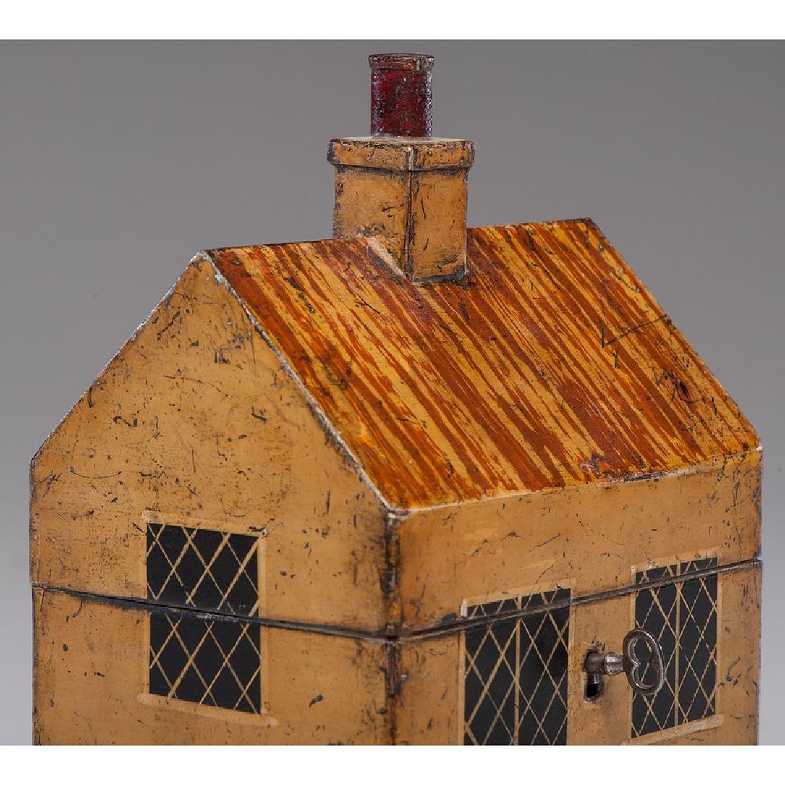 Rare Toleware Cottage Form Tea Caddy - 8