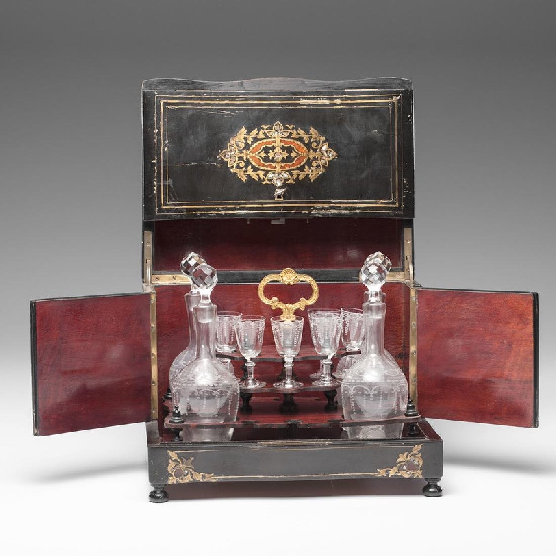 Napoleon III Boulle Tantalus with Etched Glass