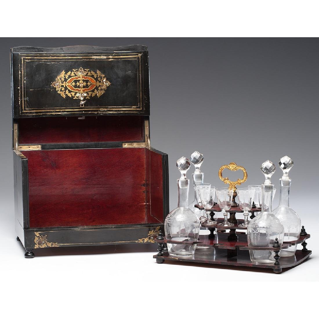 Napoleon III Boulle Tantalus with Etched Glass - 2