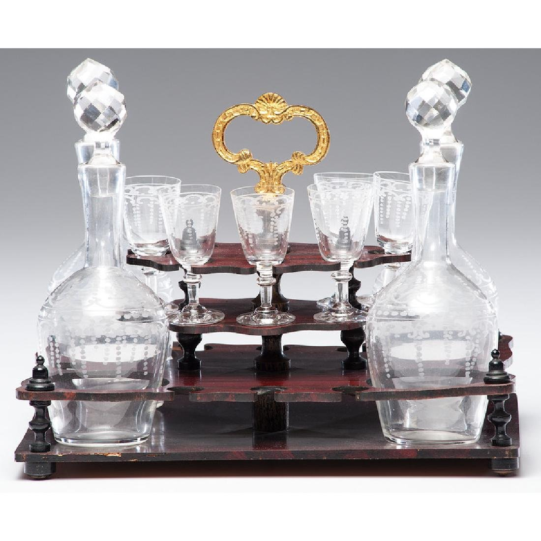 Napoleon III Boulle Tantalus with Etched Glass - 3