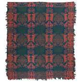 Ohio (Attributed) Jacquard Coverlet in Three Colors
