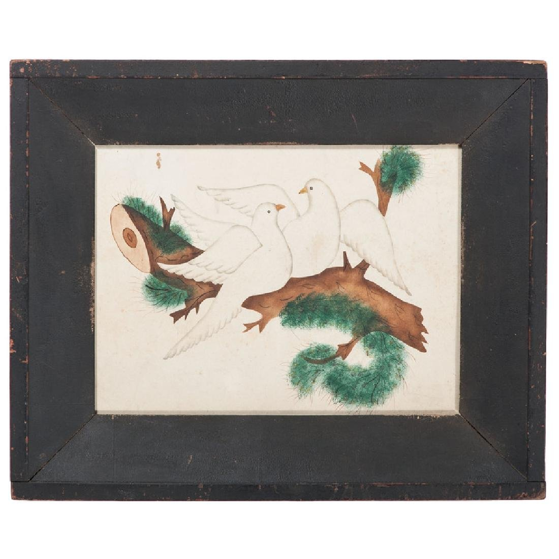 19th Century Watercolor of Doves on a Branch