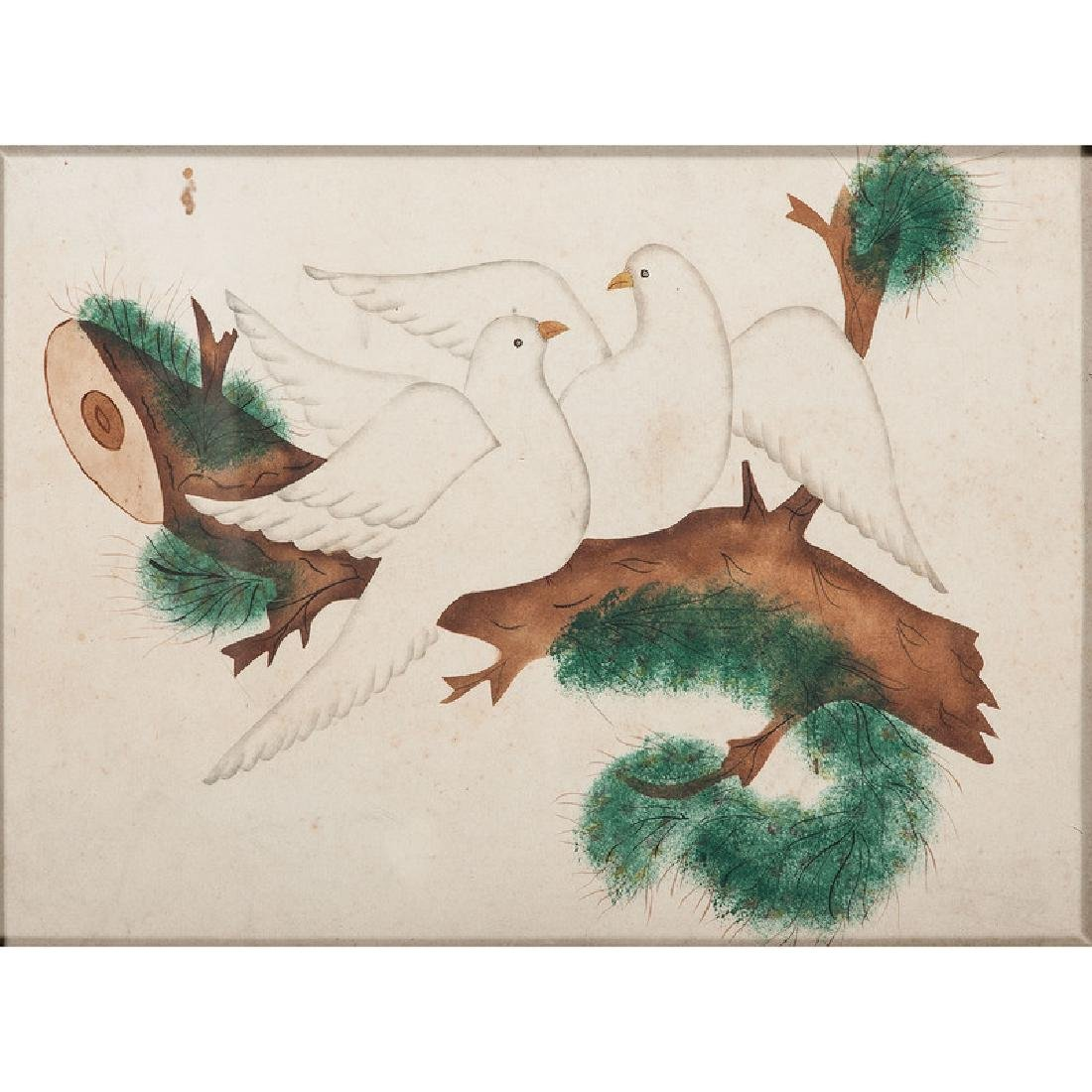 19th Century Watercolor of Doves on a Branch - 2