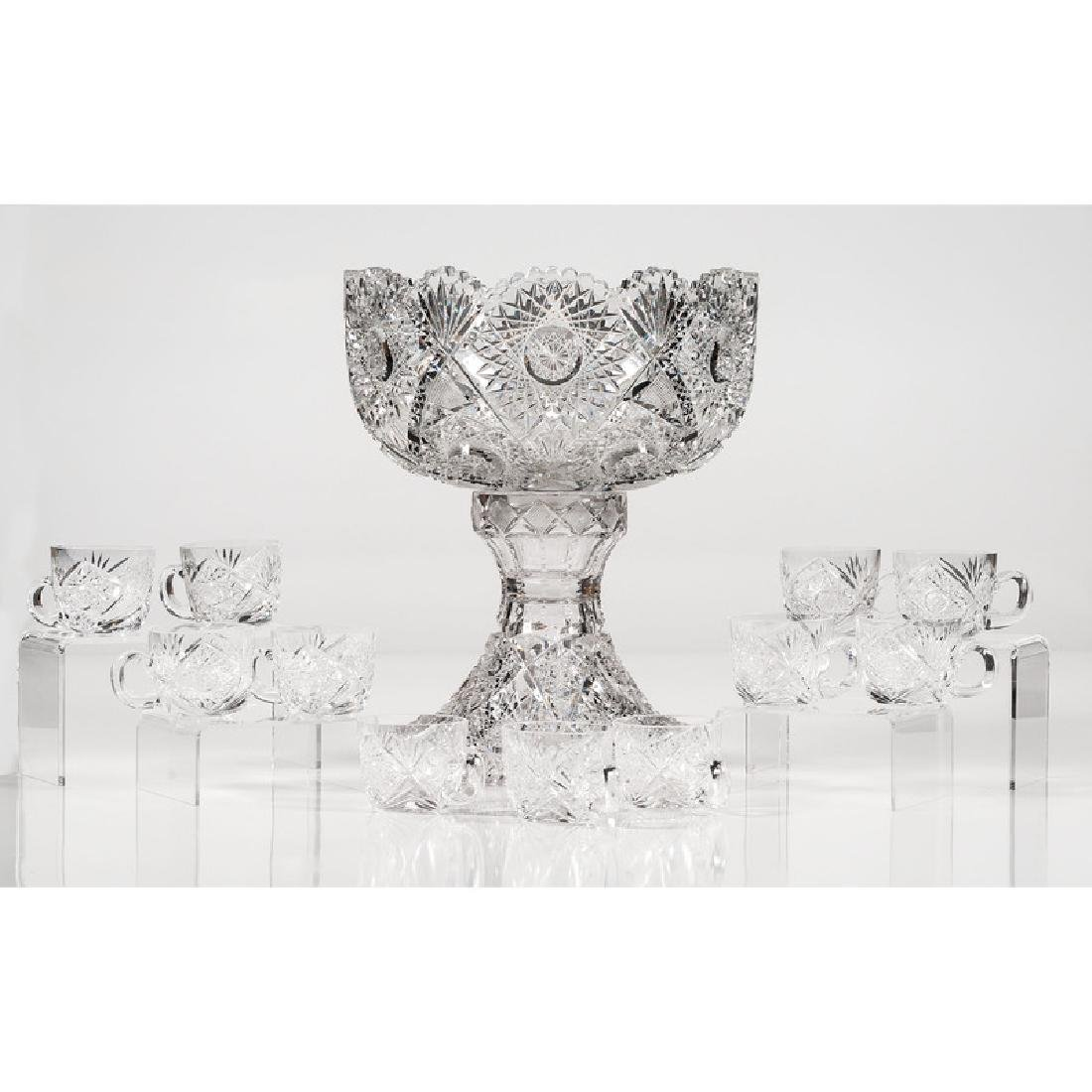 Cut Glass Pedestal Punch Bowl with Cups