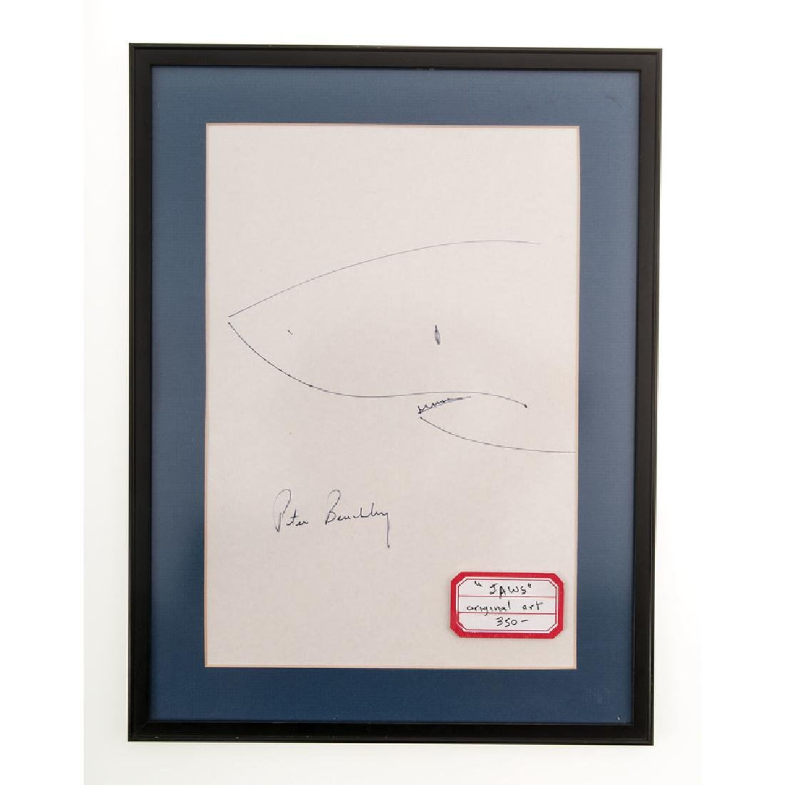 Peter Benchley Signed 'Jaws' Drawing