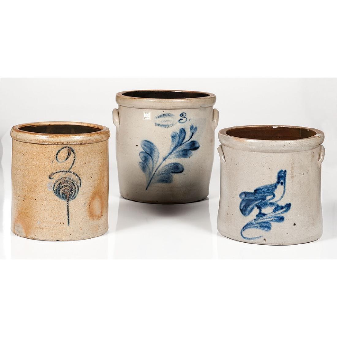 Cobalt Decorated Stoneware Crocks, Including J. Fisher