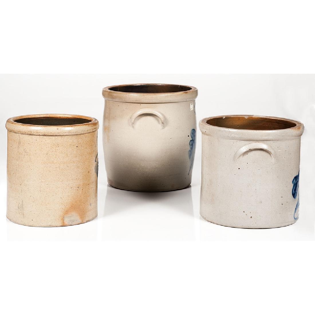 Cobalt Decorated Stoneware Crocks, Including J. Fisher - 2