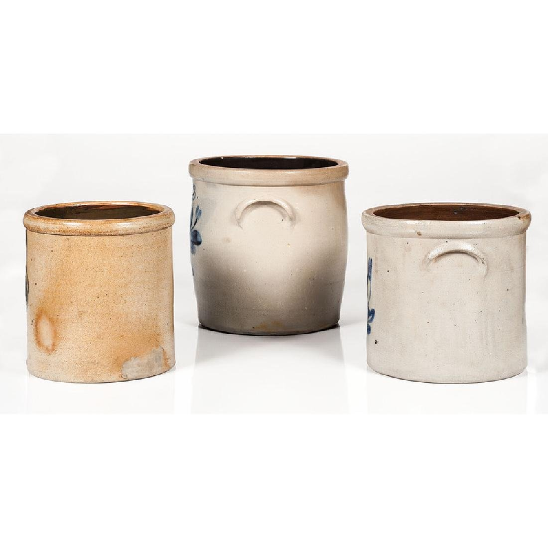 Cobalt Decorated Stoneware Crocks, Including J. Fisher - 4