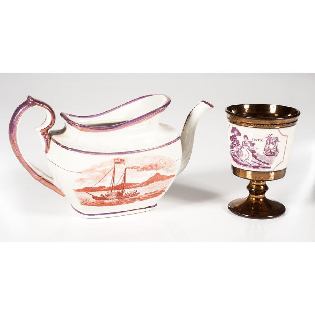 Lusterware Teapot and Goblet