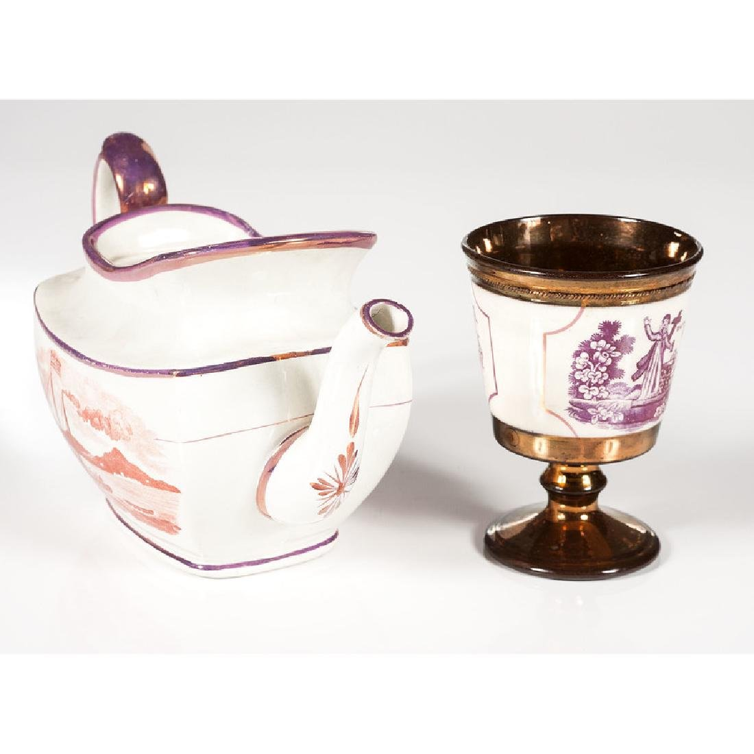 Lusterware Teapot and Goblet - 2