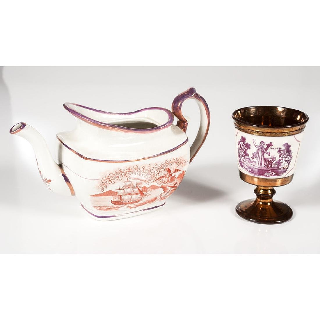 Lusterware Teapot and Goblet - 3