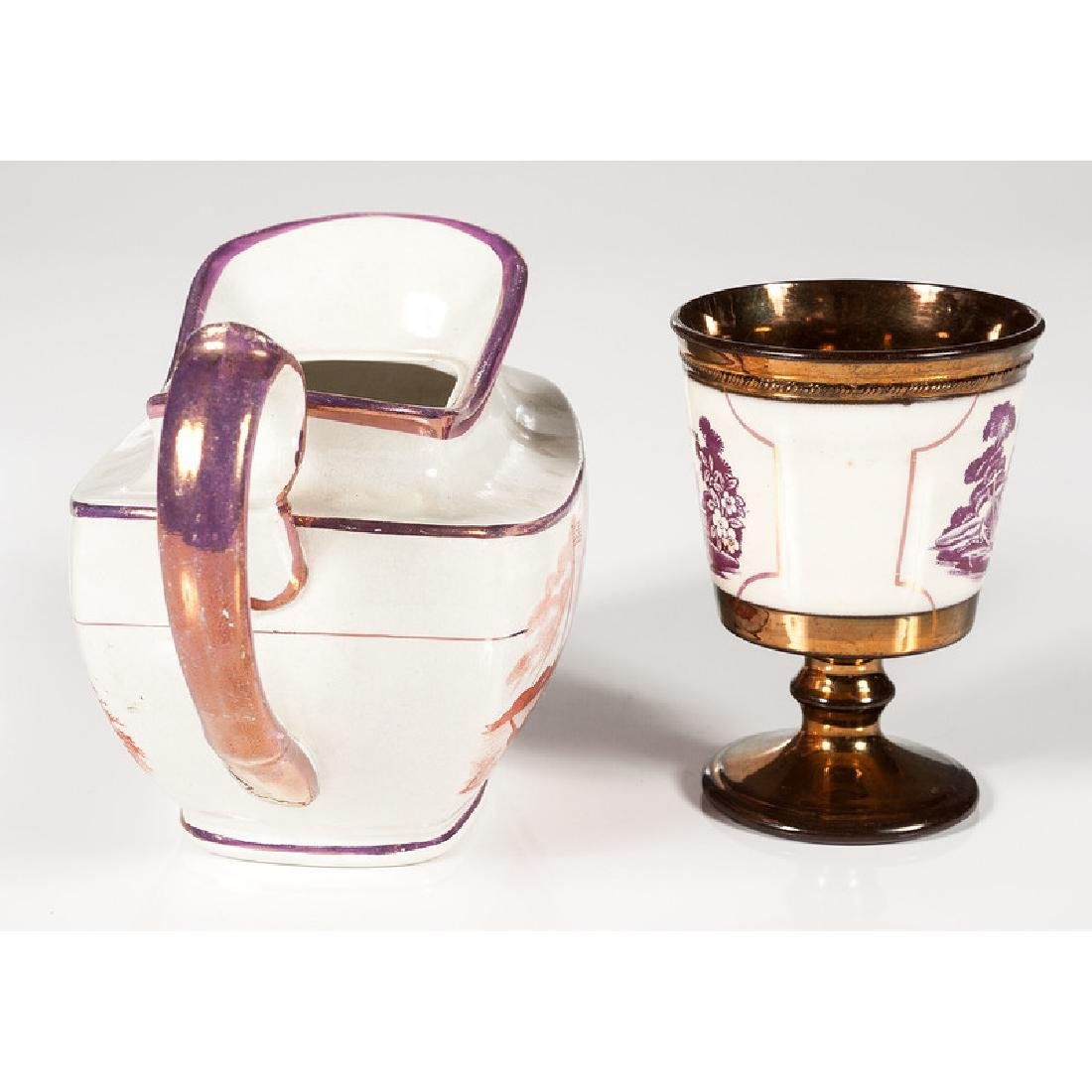 Lusterware Teapot and Goblet - 4