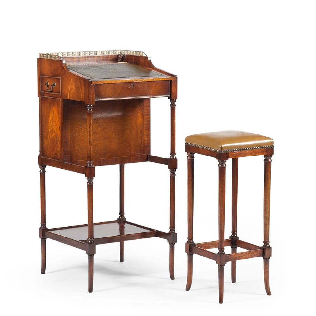 English Mahogany Desk with Stool