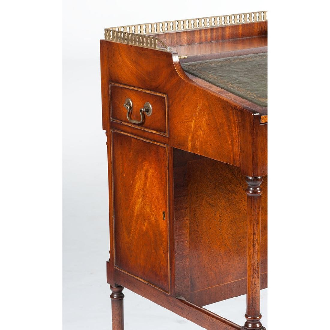 English Mahogany Desk with Stool - 3