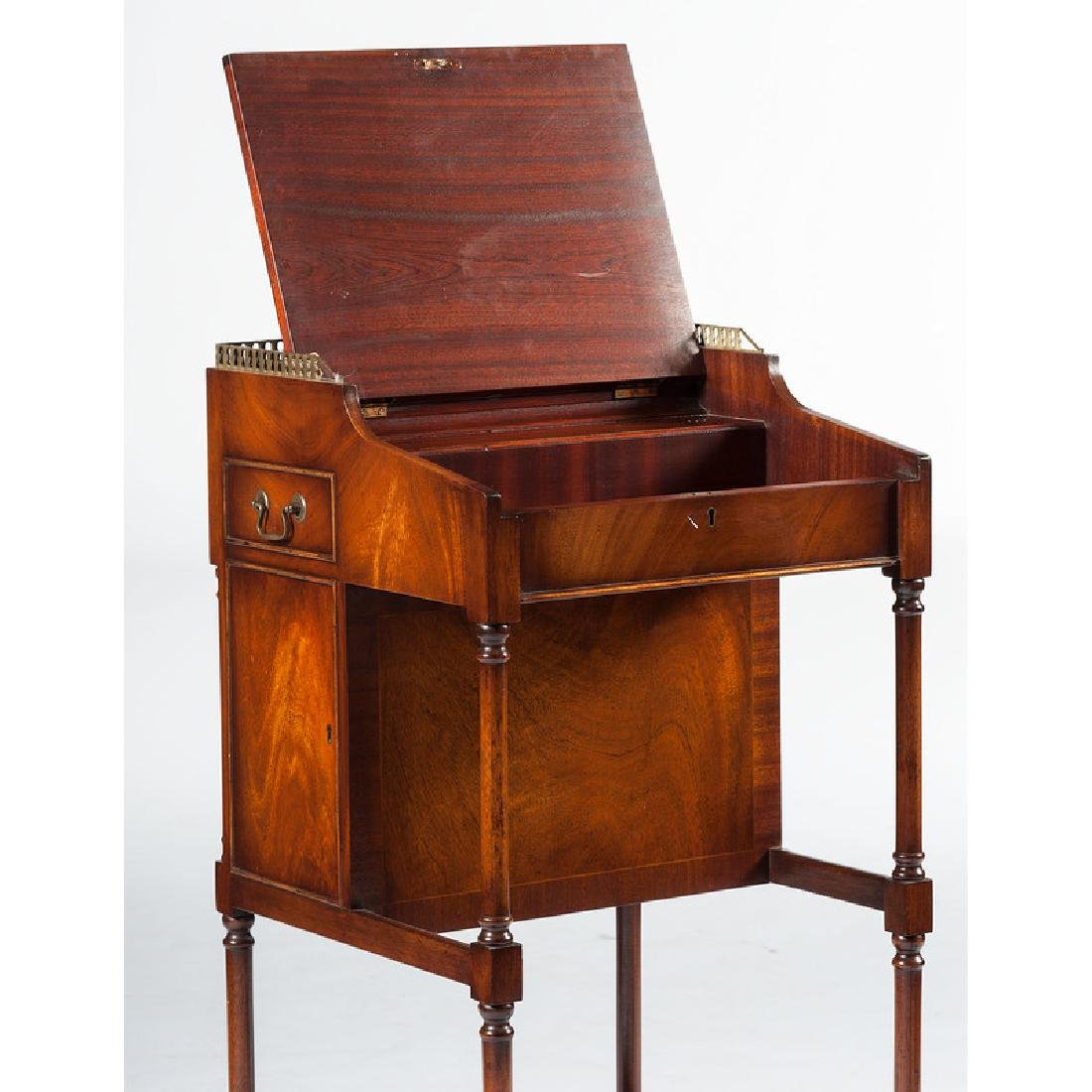 English Mahogany Desk with Stool - 5